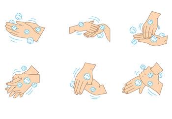 sechs Schritte Hände Hygiene